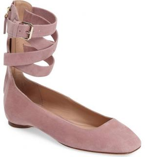 Valentino plum suede ankle wrap ballet flats