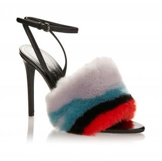 Marco De Vincenzo Striped Faux Fur Sandals