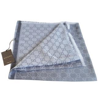 Gucci two tone grey Gucci wool/silk scarf