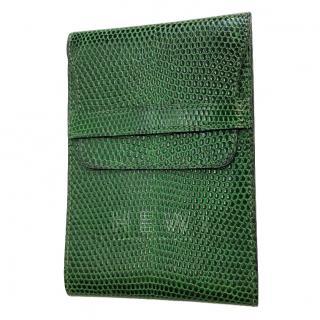 Hermes green lizard skin money clip holder