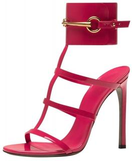 Gucci pink patent leather horse bit ankle cuff heeled sandals