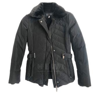 Armani Jeans Black Puffer Jacket W/ Faux Fur Trim