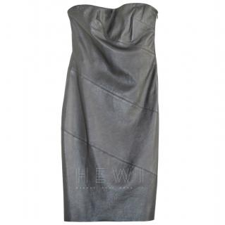 Ralph Lauren Black Label strapless fitted leather dress