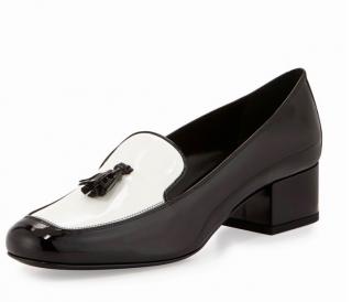 Saint Laurent black & white babies loafers