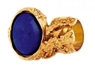 Yves Saint Laurent Blue Arty gold-plated glass ring