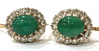 Antique Russian cabochon 8ct emerald and european cut diamond earrings