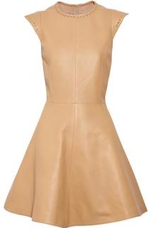 Chloe Rose Beige Whipstitch capped sleeve leather dress