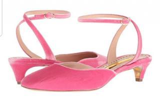Rupert Sanderson rose quartz velvet kitten heel sandals