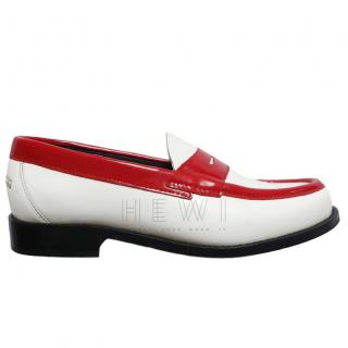 JW Anderson Red & White Leather Loafers