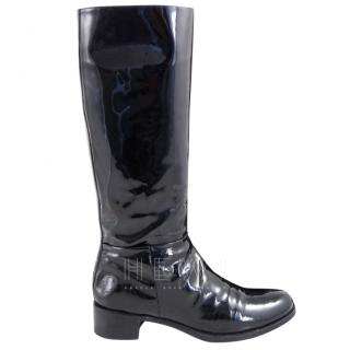 Prada Black Patent Leather Knee High Boots