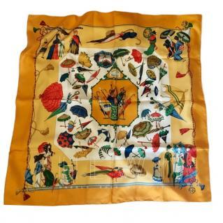 Hermes Yellow Silk Scarf 90