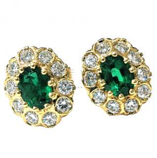 Bespoke Tsavorite & Diamond cluster earrings