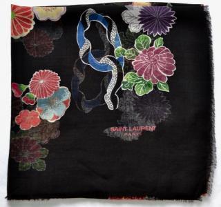 Saint Laurent semi sheer floral love print scarf