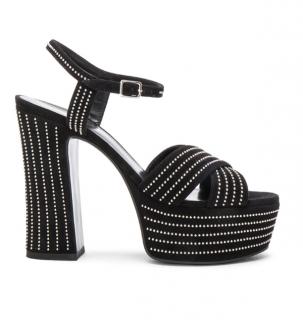 Saint Laurent Black Suede Crystal Candy Platform Sandals