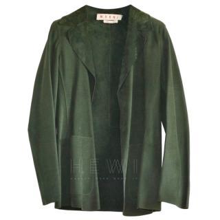 Marni dark green supple leather jacket