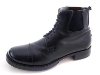 Miu Miu black leather military ankle boots
