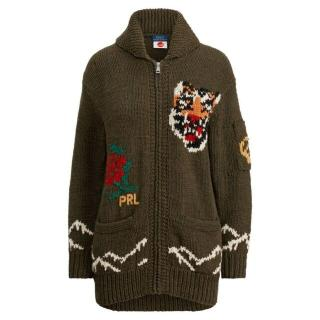 Polo Ralph Lauren Khaki Green Intarsia Zip Front Cardigan
