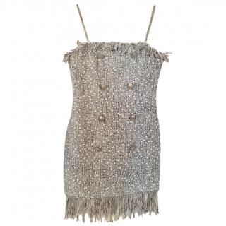 Balmain Tweed Embellished Mini Dress