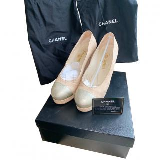 Chanel Canvas & Leather Cap-Toe Pumps