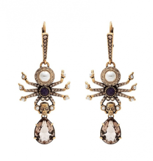 Alexander McQueen Crystal and pearl spider-drop earrings