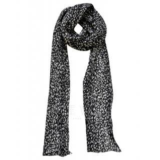 Saint Laurent Leopard-Print Wool & Silk Scarf