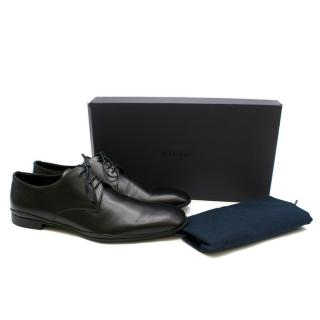 Prada Black Leather Cap Toe Oxfords
