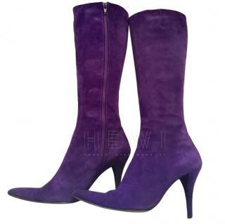 Pura Lopez Purple Suede Boots
