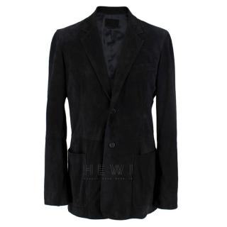 Prada black single-breasted suede jacket