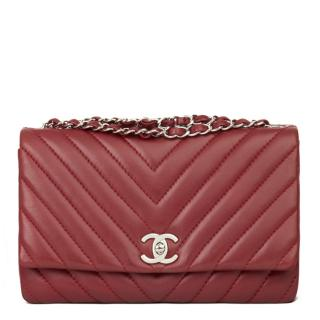 Chanel Red Chevron Leather Flap Bag