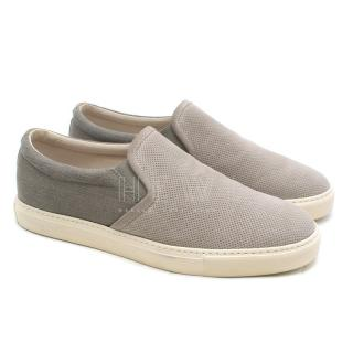 Brunello Cucinelli Gray Perforated Suede Slip-on Sneakers
