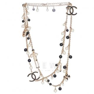 Chanel Black & White Faux Pearl Icons Charm Necklace