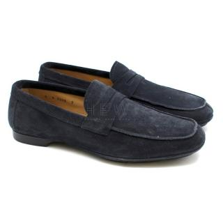 Prada Navy Suede Driving Loafers
