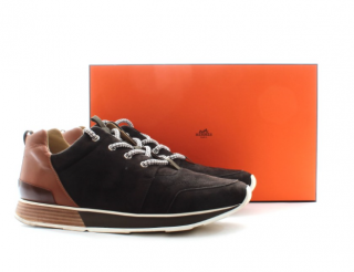 Hermes Leather & Suede Men's Lace-Up Sneakers