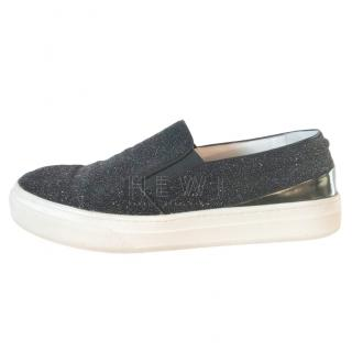 Tod's Charcoal Glitter Slip-On Trainers