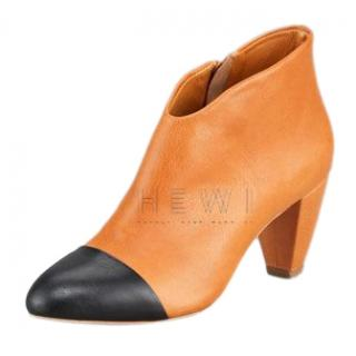 Loeffler Randall Nanette Cap-Toe Low-Heel Ankle Booties