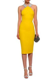 Victoria Beckham wool & silk-blend yellow apron dress