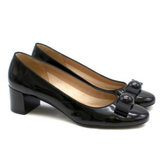 Salvatore Ferragamo Black Patent Leather Block-Heel Pumps