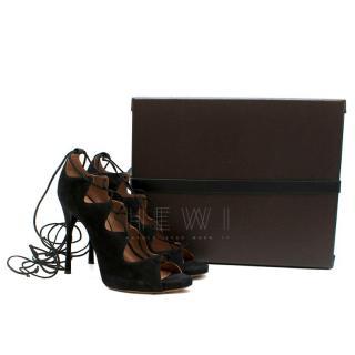 Alaia Black Lace Up Suede Sandals