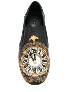 Dolce & Gabbana Clock Embellished Cinderalla Slip-On Sneakers