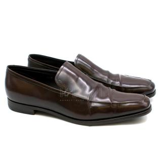 Prada Brown Patent Leather Moccasin Loafers
