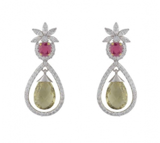 Bespoke 14k White Gold Diamond and Ruby Drop
