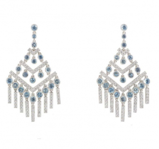 Tiffany & Co. Aquamarine & Diamond Chandelier Earrings