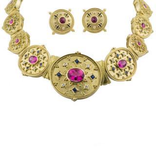 Theo Fennell Sapphire, Diamond & Tourmaline Stud Earrings & Necklace