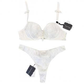 Chantal Thomass Calais Leavers Lace & Satin Pad Bra & Thong Set