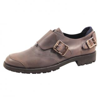 Hogan brown leather monk shoes
