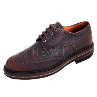 Santoni burnished brown wingtip brogues