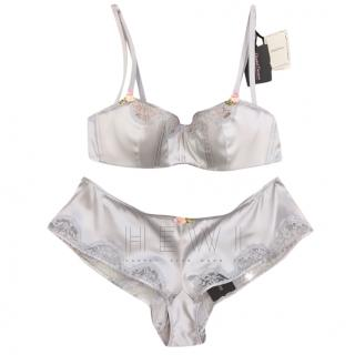Chantal Thomass Cloud Grey Silk Balconette Bra & French Short Set