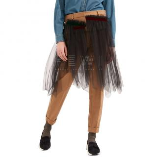 Max Mara Wool flannel and tulle trousers