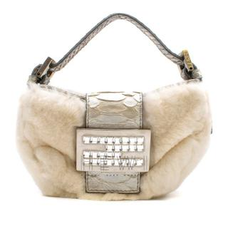 Fendi Chinchilla Fur & Python Mini Baguette