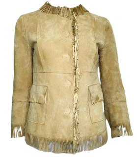 Dolce & Gabbana Goatskin Suede Fringe Jacket